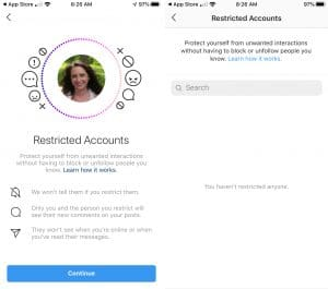 restricting account instagram